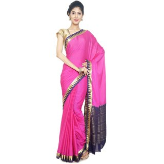 Sudarshan Silks Pink Embroidered Synthetic Crepe Saree with Blouse