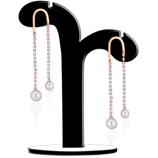 Spargz Rose Gold Plating Alloy CZ Diamond With Pearl Long Chain Dangle  Drop Earrings AIER 626