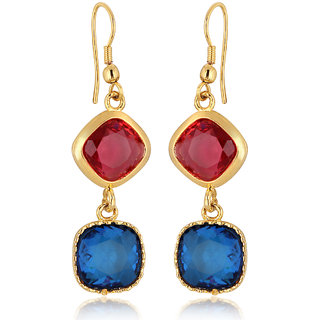 Spargz Multi Color Synthetics Stone Gold Plating Dangle  Drop Hook Earrings For Women AIER 633