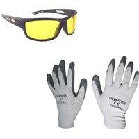 MPI Bike Riding Multipurpose Gloves and Night Drive Glares Goggle Combo