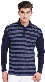 Hypernation Blue Grey Stripe Polo T-Shirt With Plain Blue Sleeves