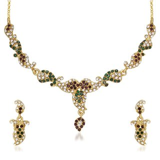 Kriaa Alloy Purple  Green Ethnic Necklace Set -1105509