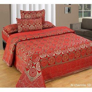 Akash Ganga Multi-Colour Chenille Bed Cover (BC-11)
