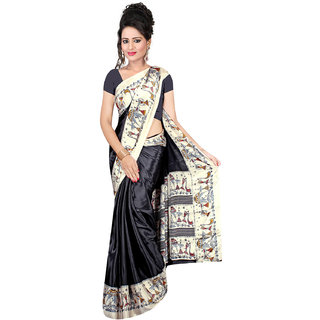 DesiButik Black Crepe Printed Saree With Blouse