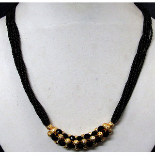 Multi Line Golden Black Ball Mangalsutra Necklace