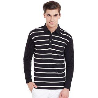 0552396ed Hypernation Mens Black Ecru Stripe Polo T-Shirt With Plain Black Sleeves