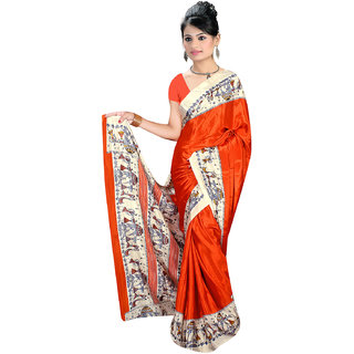 DesiButik Orange Crepe Printed Saree With Blouse