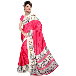DesiButik Pink Crepe Printed Saree With Blouse