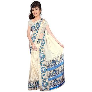 DesiButik Cream Crepe Printed Saree With Blouse