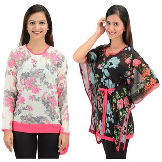22f17792ecf46 Timbre Women   Girls Stylish Georgette Tops And Kaftan Combo Pack Of 2