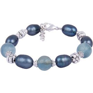 Pearlz Ocean  Blue Fairy 7.5 Inches Fluorite Gemstone Beads  Dyed Freshwater Pearl Bracelet
