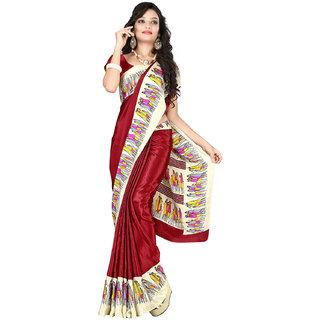 DesiButik Maroon Crepe Printed Saree With Blouse