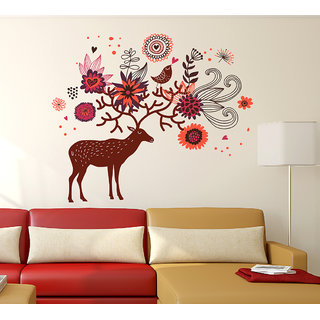 Wallstick ' Deer And Flowers ' Wall Sticker (Vinyl, 90 cm x 105 cm, Multicolor)