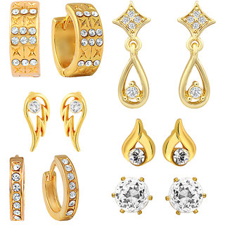 Mahi Gold Plated Combo of Stud  Bali Earrings with CZ For Women CO1104568G