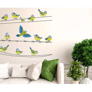 Wallstick ' Birds on Net ' Wall Sticker (Vinyl, 100 cm x 110 cm, Multicolor)