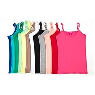 Multicolor 8 pc Cotton Solid Camisole Upto 12 years Girls