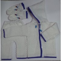 JS Baby Soft Woolen Knitted Suit (White)