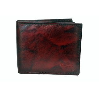 NoVowels Gents Wallet Soft Leather Maroon (Synthetic leather/Rexine)