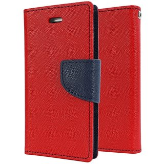 SCHOFIC Mercury Goospery Fancy Wallet Diary with Stand View Faux Leather Flip Cover for Samsung GALAXY J3 (Red)