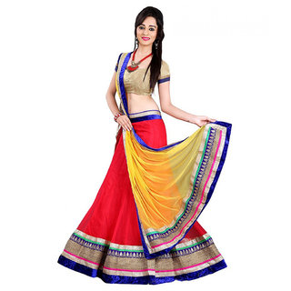 Aracruz Red Softnet Embroidered Heavy Lehenga Choli