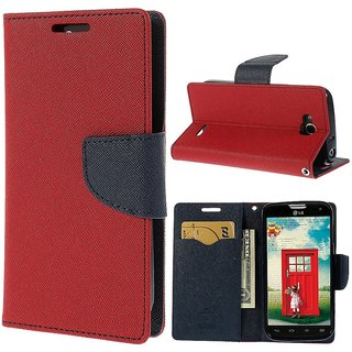 MERCURY Wallet Flip case Cover for Reliance Lyf Flame 3 (RED)