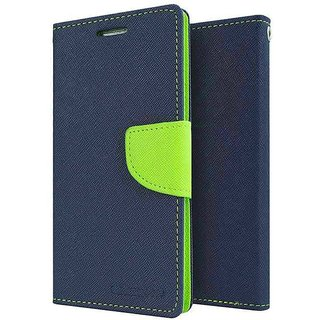 Wallet Flip Cover FOR Reliance Lyf Earth 2 (BLUE)