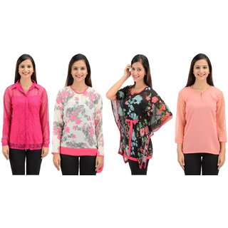 Timbre Women / Girls Stylish Georgette Tops And Kaftan Combo Pack Of 4