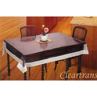 """Katwa Clasic - 60"""" X 90"""" (Oval) Clear Transparent With Lace Border Tablecover"""
