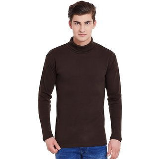 a3ef2a9cbc8 Buy Hypernation Mens Brown Color Full Sleeves High Neck Cotton T-Shirt  Online - Get 33% Off