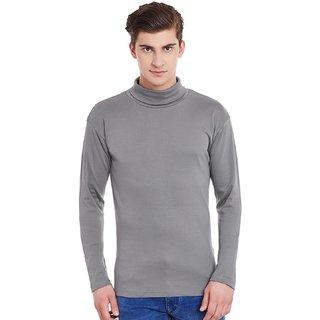 Hypernation Mens Steel Grey Full Sleeves High Neck Cotton T-Shirt