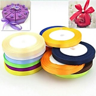 Pretty Silk Satin Ribbon 1/4 INCH WIDTH AND 10 METERS LENGTH APPROX 12 ASSORTED COLORS Wedding Party Decoration Invitation Card Gift Wrapping Scrapbooking Webbing Riband