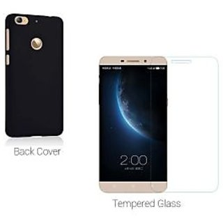 Letv Le 1s Tempered Glass Plus Hard Back Cover (black)Combo for Le 1s