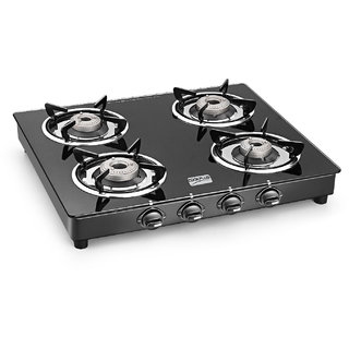 Cookplus 4 Gt Lava 4 Burner Gas Stove-Crystal Black