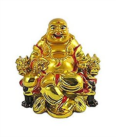 only4you feng shui laughing buddha on chair with ingot and money coin for health wealth and happiness