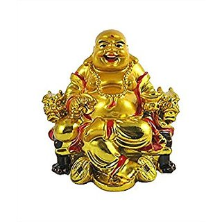 Re-Buy feng shui laughing buddha on chair with ingot and money coin for health wealth and happiness