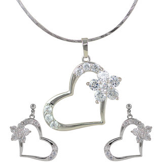 Glitters Silver Rhodium Plated Heart Shape Imported Pendant Sets With Earrings For Women