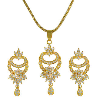 Glitters 24 Ct Gold Plated Zircon Imported Pendant Sets With Earrings For Women