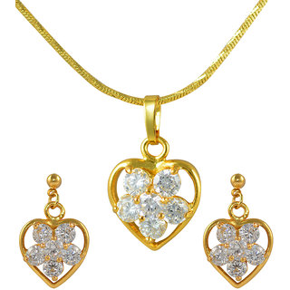 Glitters 24 Ct Gold Plated Heart Shape Imported Pendant Sets With Earrings For Women