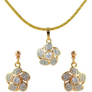 Glitters 24 Ct Gold Plated Imported Pendant Sets With Earrings For Women