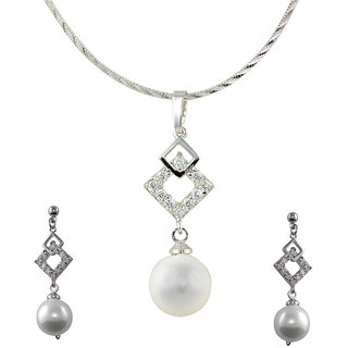 Glitters Silver Rhodium Plated With Pearl Imported Pendant Sets With Earrings For Women