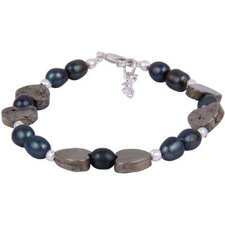 Pearlz Ocean Glossed Up 7.5 Inches Pyrite Bead  Dyed Freshwater Pearl 7.5 Inches Bracelet