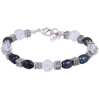 Pearlz Ocean Lady In Style Dyed Black Freshwater Pearl  White Crystal Bead 7.5 Inches Bracelet