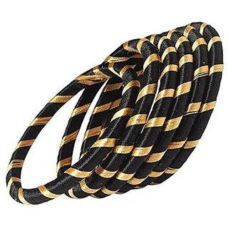 Black - Gold Shine Silk Thread Designed Bangles for Women Set of 6