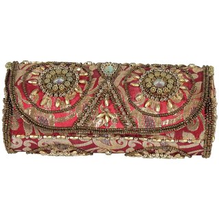 BagsHub Multi-color Ethnic Round Sling Clutch (B0613-0000600090-V0010)