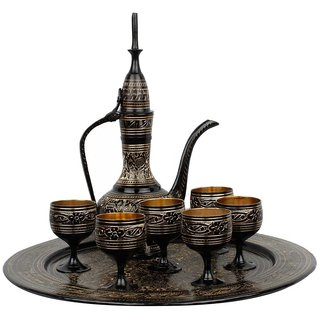 Gomati Ethnic Antique Royal Wine Set Black Metal Handicraft -145