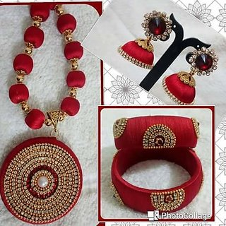 Red Yellow Gold Plated Ethnic Pendant With Earrings And bangles  For Women