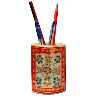 Gomati Ethnic Hand Painted Floral Gold Minakari Marble Pen Stand 148