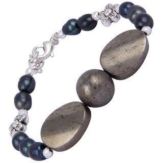 Pearlz Ocean Golden Tassel 7.5 Inches Pyrite Beads  Dyed Freshwater Beads Bracelet