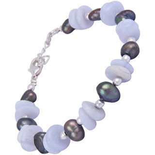 Pearlz Ocean Lacerated Blue Lace Agate Gemstone Beads  Dyed Freshwater Pearl 7.5 Inches Bracelet