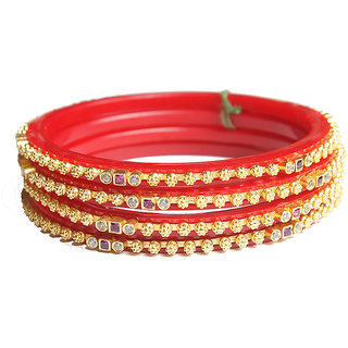 Sukkhi Alluring Gold Plated Bangles for women girls made up of pure gold plated bangles